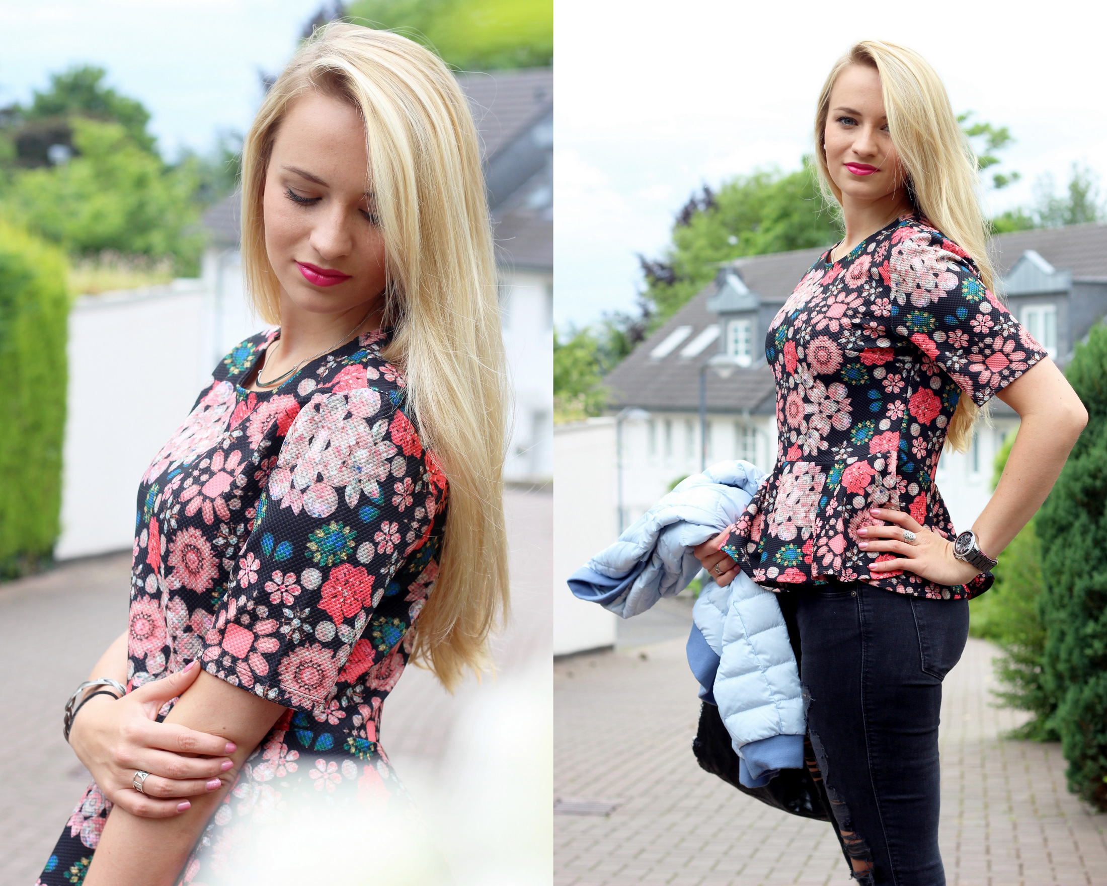 lightweight-jacket-peplum-shirt-flowers-skinny-jeans-ripped-destroyed-jeans (2)