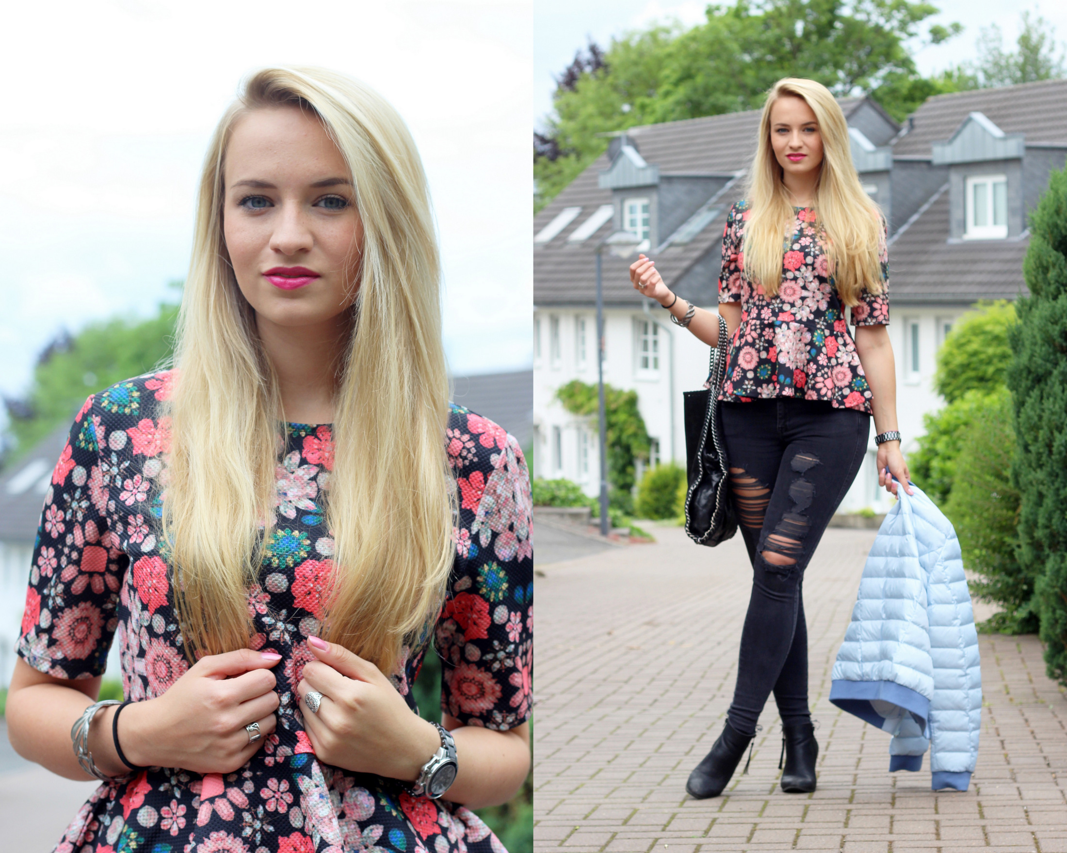 lightweight-jacket-peplum-shirt-flowers-skinny-jeans-ripped-destroyed-jeans (3)