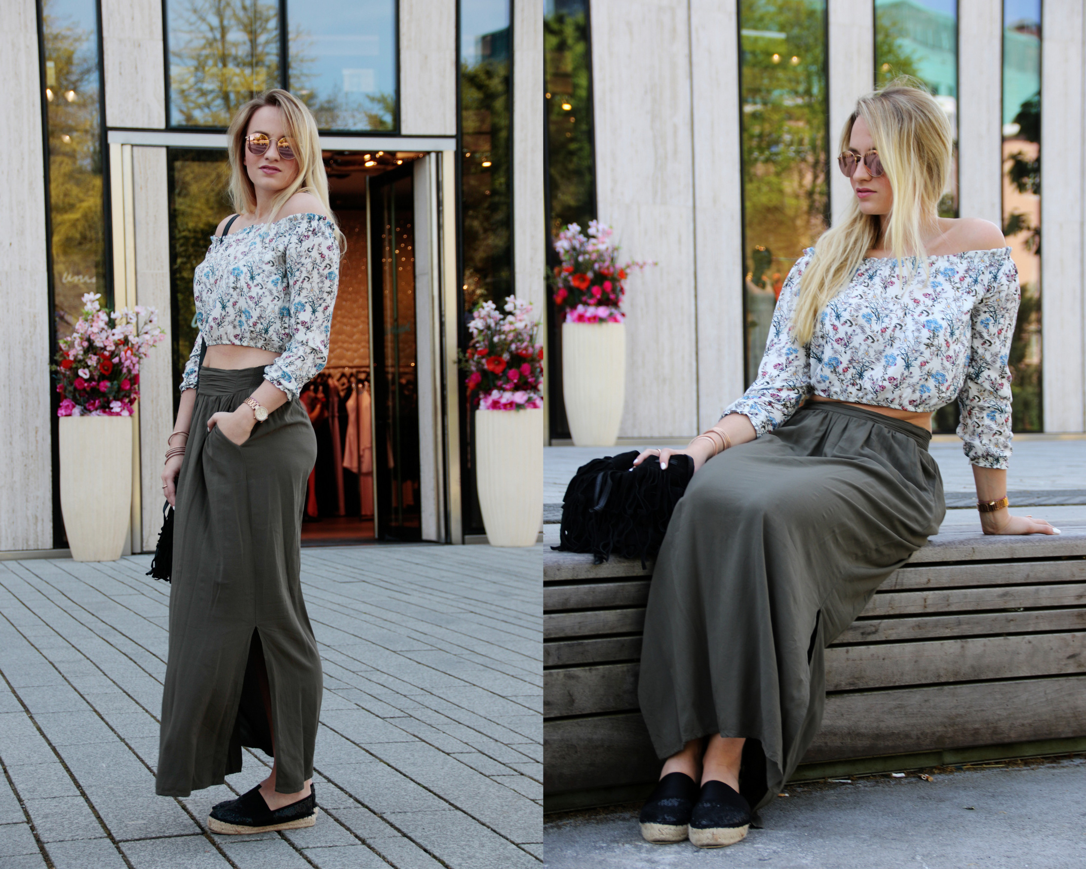 maxirock-maxiskirt-maxi-off-shoulder-shirt-flowers-olive-green-sunnies-shades-round-metal-ray-ban (1)