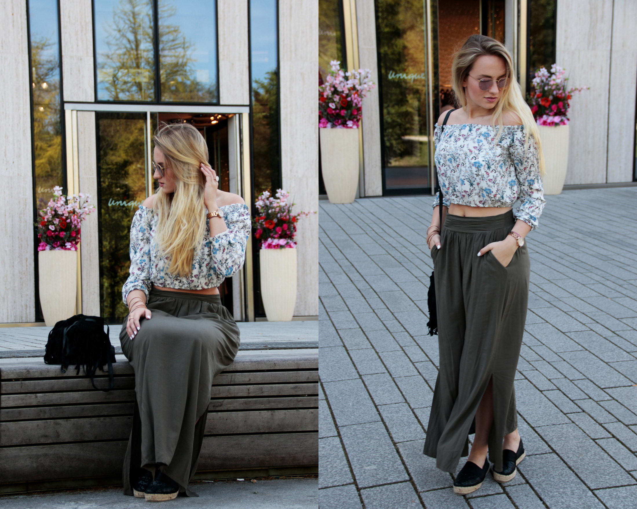maxirock-maxiskirt-maxi-off-shoulder-shirt-flowers-olive-green-sunnies-shades-round-metal-ray-ban (2)