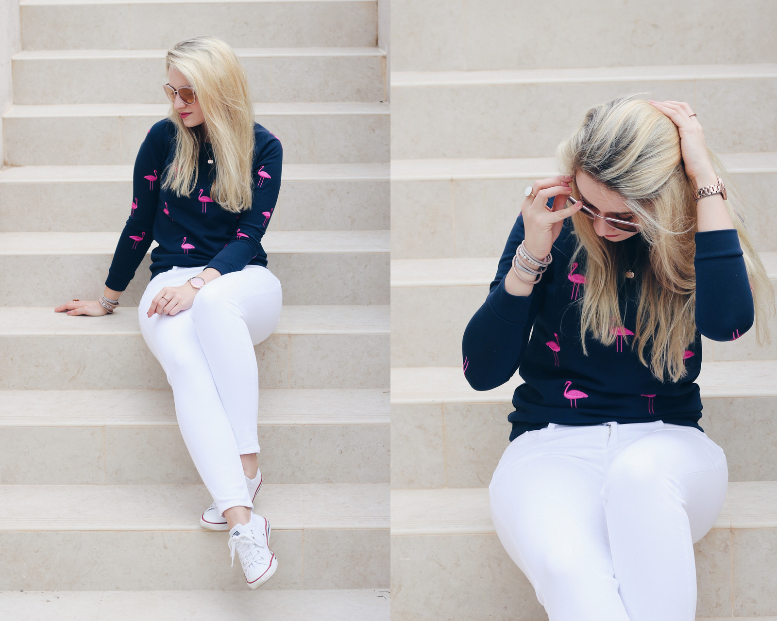 mrs.brightside-outfit-look-summer-spring-flamingo-pullover-weiße-jeans-chucks-michael-kors-sonnenbrille-uhr-blogger