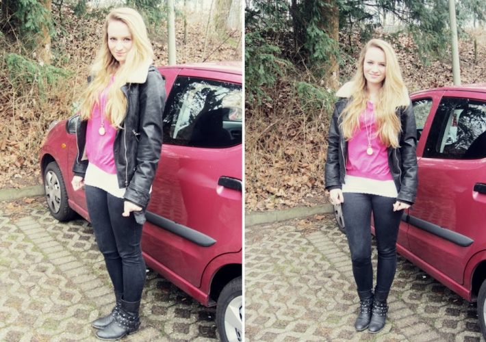 Outfit Hamburg Blogger Mrs. Brightside Fashionblog Pinker Pullover Pinkes Auto Suzuki Alto Pink Skinny Jeans 1