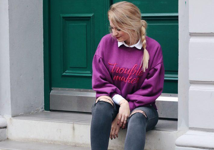 Mrs.Brightside-Rosavivi-Blogger-Hamburg-Blog-Düsseldorf-Modeblog-Outfit-Lila-Mango-Sweater-Pullover-Used-Jeans-Lack-Brogues
